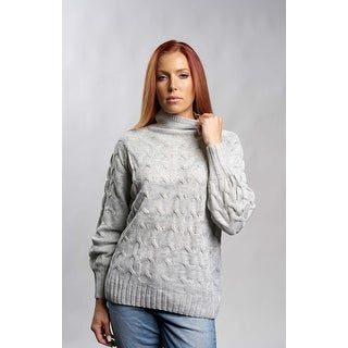 Gray Cable Knit Turtleneck Sweater