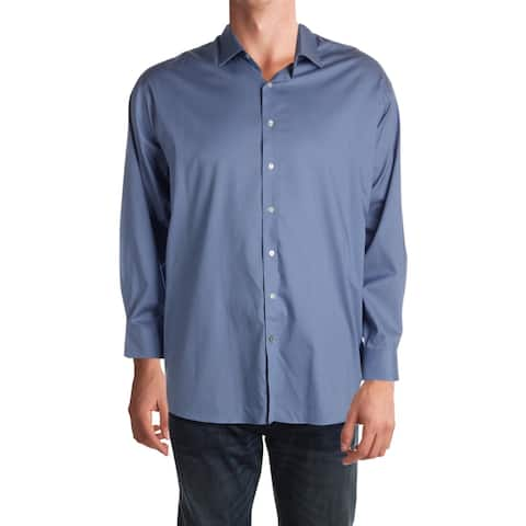Tommy Hilfiger Mens Big & Tall Button-Down Shirt Tall Fit Stretch - Atlantic