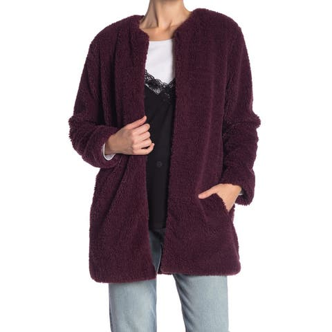 BB Dakota Purple Womens Size XL Faux-Fur Hook-Eye Closure Jacket