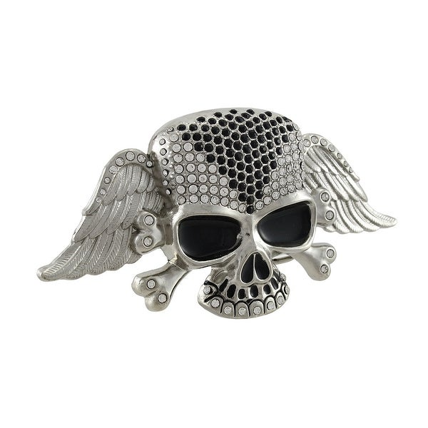 Winged Skull and Crossbones Belt Buckle with Rhinestone Accents