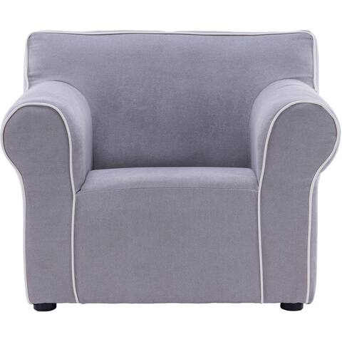 Critter Sitters 23-In. Grey Plush Children's Mini Chair with Piping