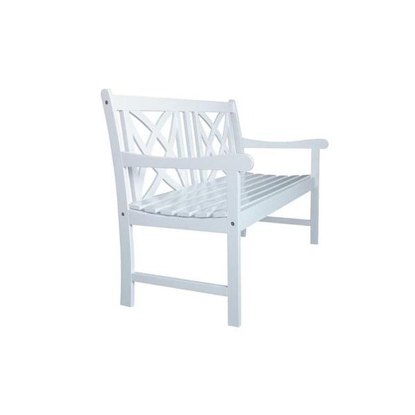 Bradley Outdoor Patio 4 Foot Wood Garden Bench In White V1713
