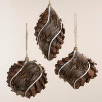 "Pack of 36 Feathered Pine Cone Finial, Onion and Ball Christmas Ornaments 5.25"" - brown"