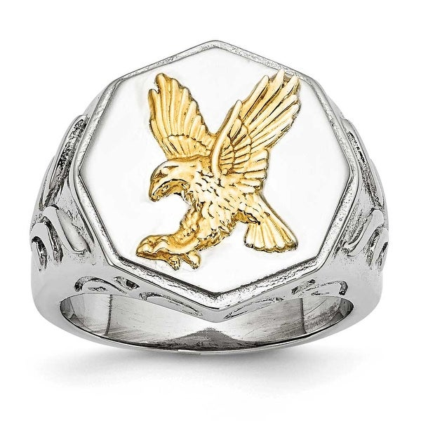 Chisel Stainless Steel Yellow IP-plated Eagle Polished Ring (13 mm)