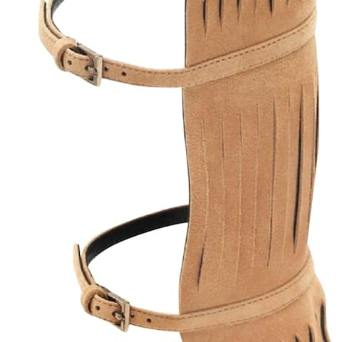 47a3bda6e Gucci Women's Brown Suede Becky Knee High Gladiator Sandal With Fringe  351310 2754
