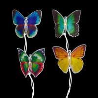 Set of 10 Fiber Optic Butterfly Summer Garden Patio Christmas Lights -Green Wire