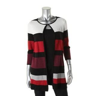 Kasper Womens Cardigan Sweater Metallic Striped