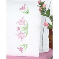 Stamped Pillowcases W/White Perle Edge 2/Pkg-Xx Lace Tulips