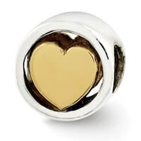 Sterling Silver Reflections Gold-plated Heart Bead (4mm Diameter Hole)