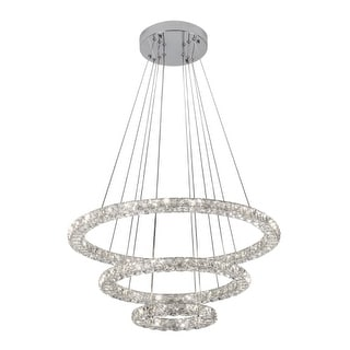 """Bazz Lighting P14532CR Glam 3 Light 27-1/2"""" Wide Integrated LED Crystal Ring Cha"""