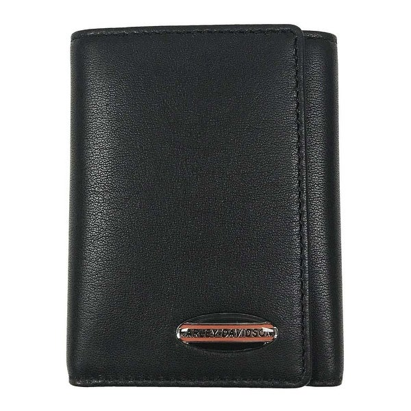 "Harley-Davidson Men's Soft Napa Leather Classic Tri-Fold Wallet NP5718L-BLK - 4.25"" x 3.5"""