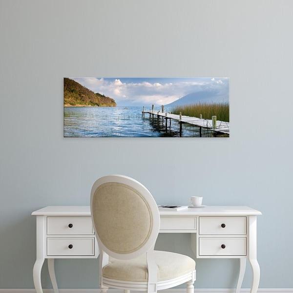 Easy Art Prints Panoramic Image 'Jetty in a lake, Lake Atitlan, San Marcos, Western Highlands, Guatemala' Canvas Art