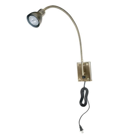 Metal Round Wall Reading Lamp with Plug In Switch, Silver and Gray