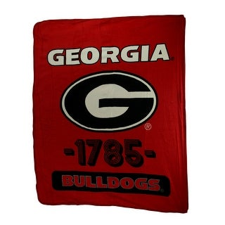 Retro Georgia Bulldogs Plush Micro Raschel Throw Blanket - Red
