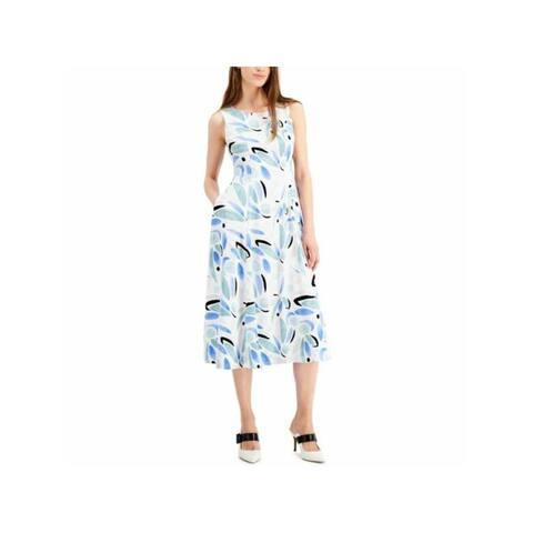 ALFANI White Sleeveless Below The Knee Dress 2