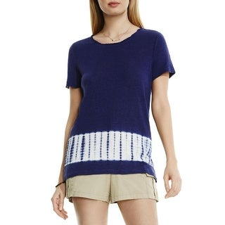 Two by Vince Camuto Womens Pullover Top Linen Tie-Dye