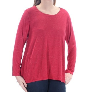 Womens Red Long Sleeve Scoop Neck Top Size L