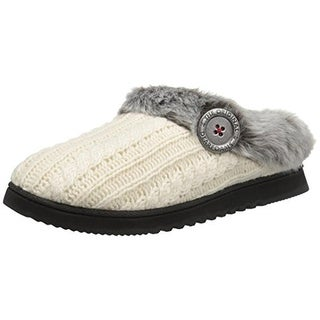 Dearfoams Womens Clog Slippers Cable Knit Faux Fur - S