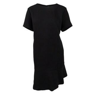 Michael Michael Kors Women's Plus Size Textured Flounce-Hem Dress (22W, Black) - Black - 22W