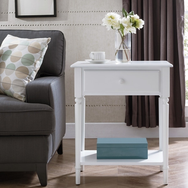 Coastal Nightstand/Side Table with AC/USB Charger. Opens flyout.