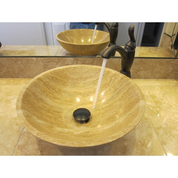 Silkroad Exclusive Travertine Stone Vessel Sink Bowl Lavatory Basin   Free  Shipping Today   Overstock.com   13934086