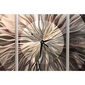 Statements2000 Silver / Charcoal 38-inch Abstract Metal Panel Wall Clock - Obsidian Burst - Thumbnail 4