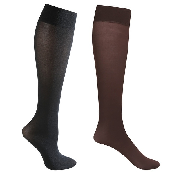 Mild Support 2 Pair Knee High Trouser Socks with 8-15 mmHg Compression - Brown/Black - Medium