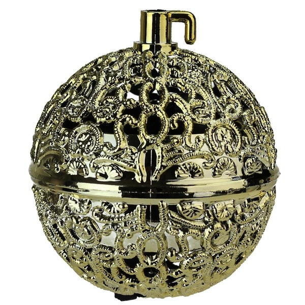 "2.75"" Gold Filigree Chirping Bird Ball Shaped Christmas Ornament"