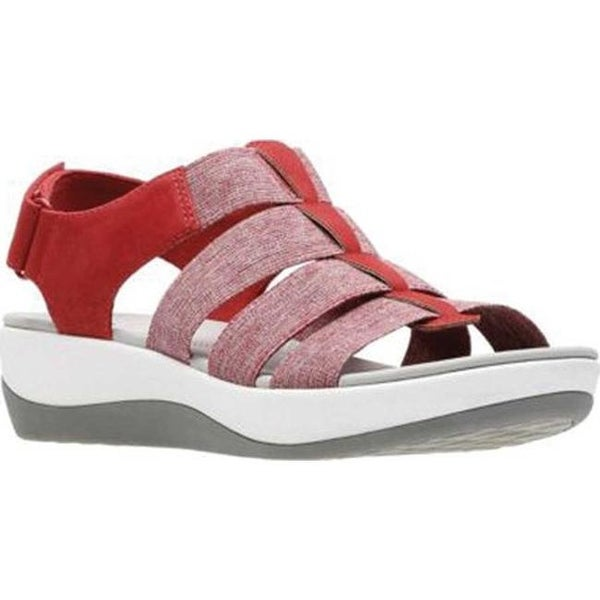 36d068c99d0 Clarks Women  x27 s Arla Shaylie Slingback Red White Heathered Elastic