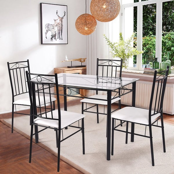 Costway 5 Piece Dining Set Gl Metal Table And 4 Chairs Kitchen Breakfast Furniture Black