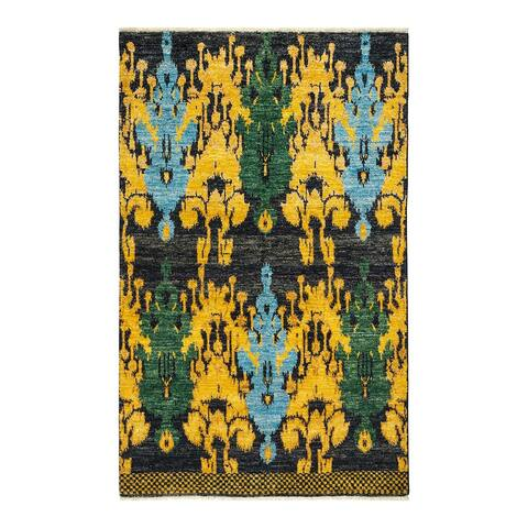 """Modern, One-of-a-Kind Hand-Knotted Area Rug - Black, 4' 7"""" x 7' 4"""" - 4' 7"""" x 7' 4"""""""