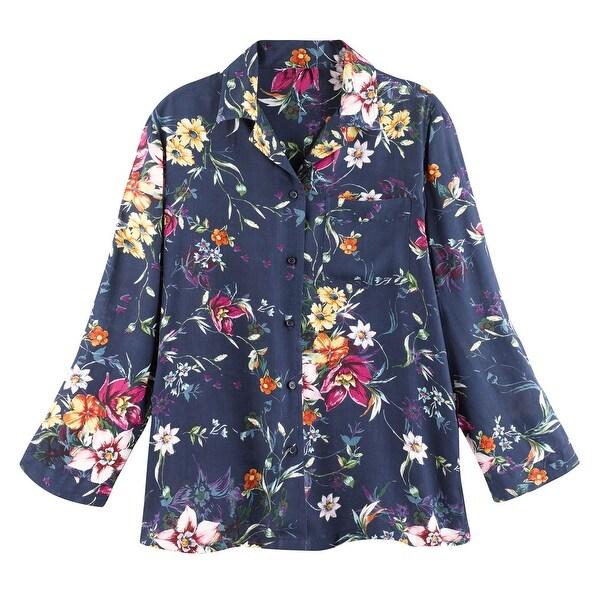 Catalog Classics Women  x27 s Blue Floral Print Pajamas PJ Set - Top  amp 1e4c063b4