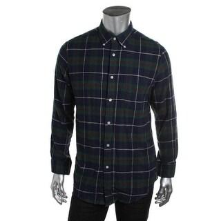 John Ashford Mens Flannel Plaid Button-Down Shirt