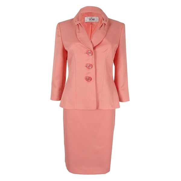 54eedbd2551ca0 Shop Le Suit Women s Three-Button Shawl-Collar Skirt Suit - Pink ...