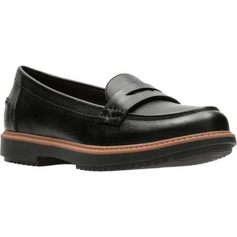 Clarks Women's Raisie Eletta Penny Loafer Black Full Grain Leather