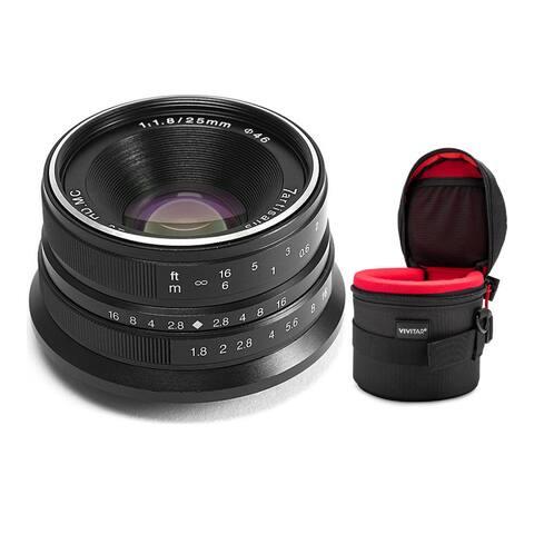 7artisans 25mm f/1.8 MF Prime Lens for Fujifilm X-Mount (Black) Bundle
