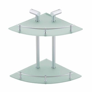 Corner Glass Shelf Dual Tiers Frosted Wall Storage Holder Renovator's Supply