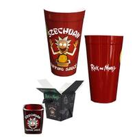 Rick and Morty Szechuan Dipping Sauce Shot Glass and Plastic Cup Bundle - Multi