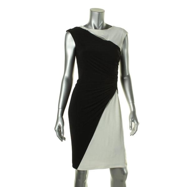 Lauren Ralph Lauren Womens Cocktail Dress Colorblock Ruched