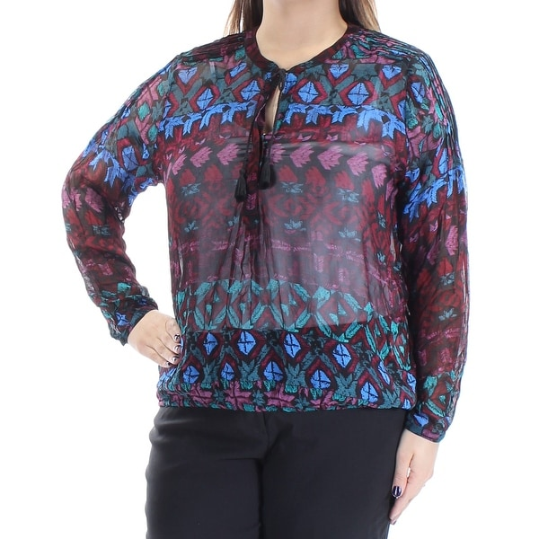 LUCKY BRAND Womens Red Tie Printed Long Sleeve Crew Neck Wear To Work Top Size: XL