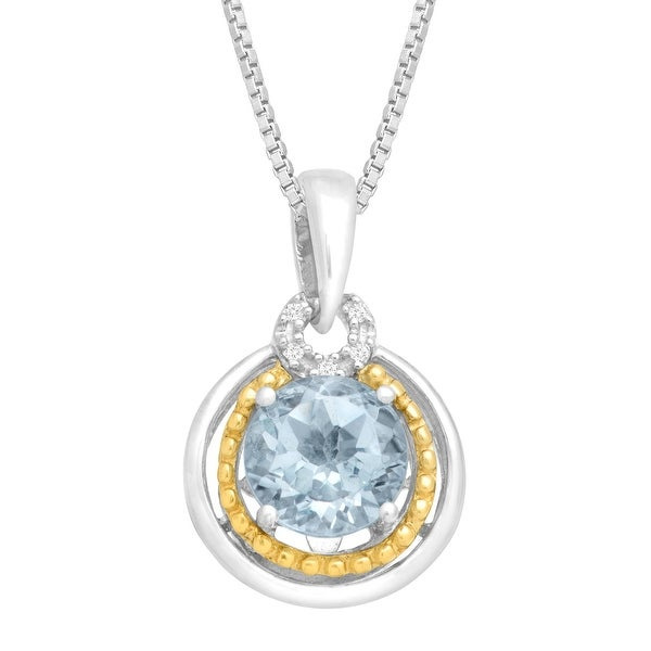 1 1/5 ct Natural Aquamarine Pendant with Diamonds in Sterling Silver & 14K Gold - Blue
