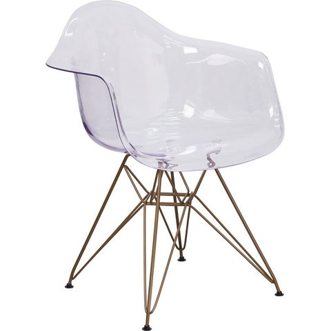 Asbury Transparent Clear Side Chair with Gold Frame Curved Arms