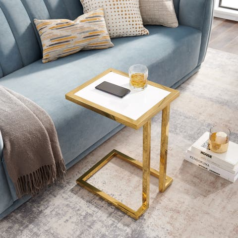 Kulani High Gloss Lacquer Finish End Table Stainless Steel Base