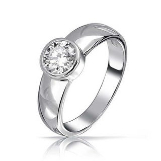 Bling Jewelry Sterling Silver Round CZ Solitaire Bezel Set Engagement Ring
