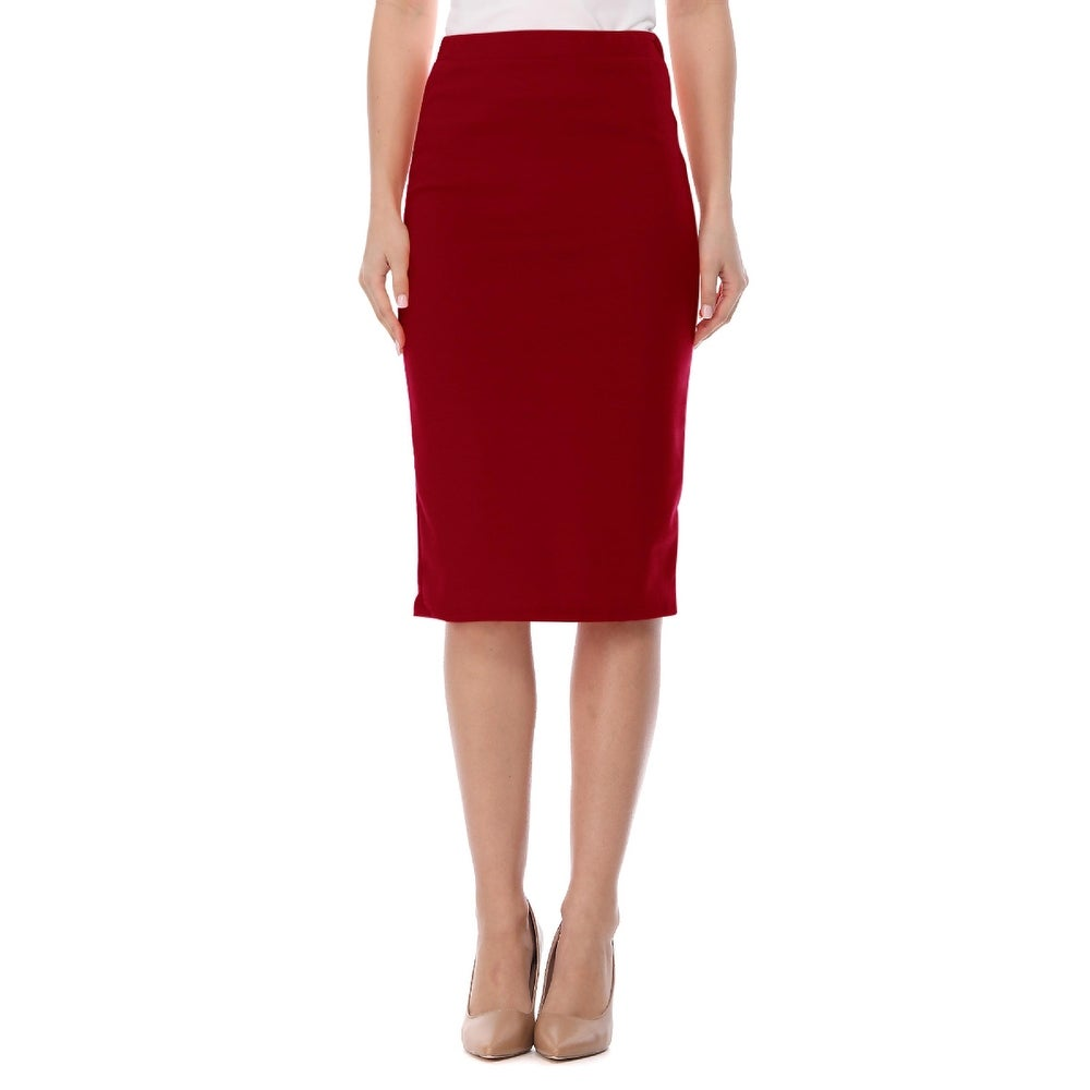 Womens Casual Solid Midi Skirt