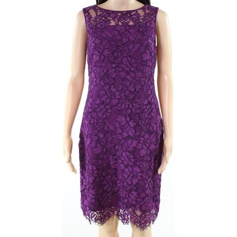 Lauren By Ralph Lauren Purple Womens Size 16 Scalloped Sheath Dress