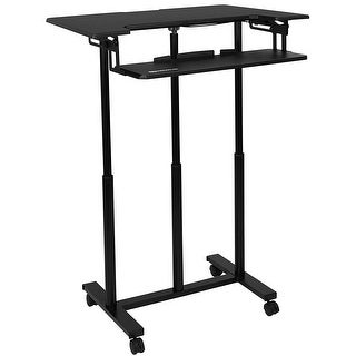 """Mount-It! Rolling Sit Stand Workstation 34"""" Wide with Adjustable Keyboard Tray - MI-7968"""