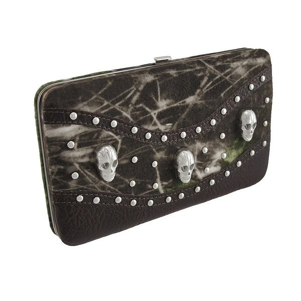 Forest Camouflage Flat Wallet with Skulls and Studs