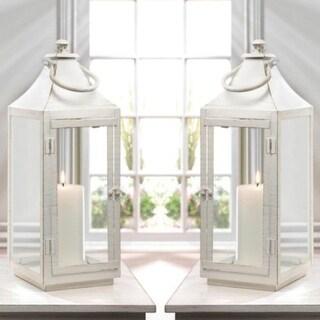 Set of 2 Large Traditional White Lanterns