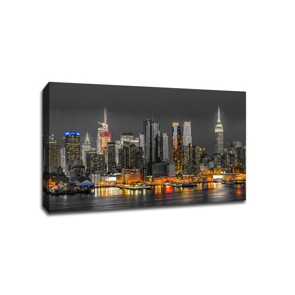 New York - Touch of Color Skylines - 36x24 Gallery Wrapped Canvas Wall Art ToC